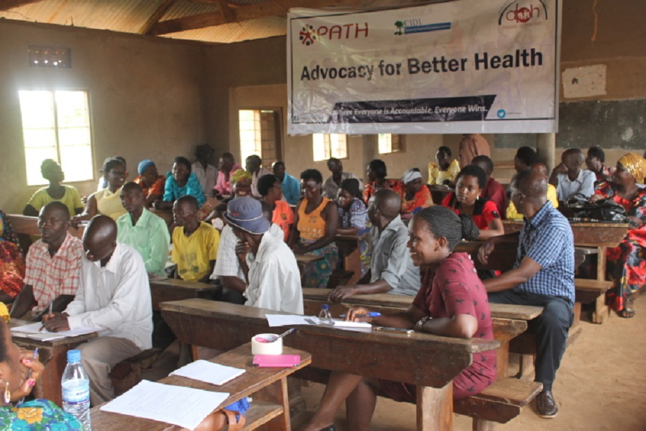 Dialogue meeting with community members in Luweero district during our Advocacy for Better Health project