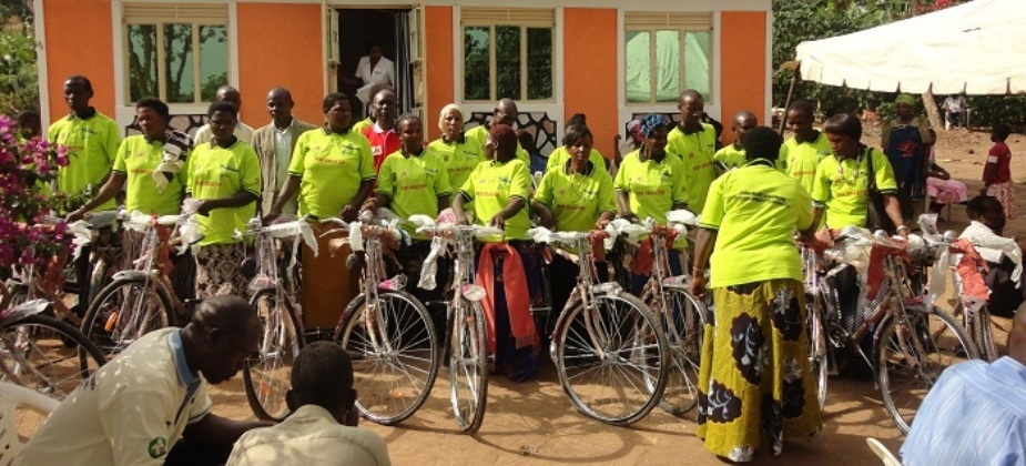 CIDI  Hands over Bicyles  to  VHT's in Rakai  District